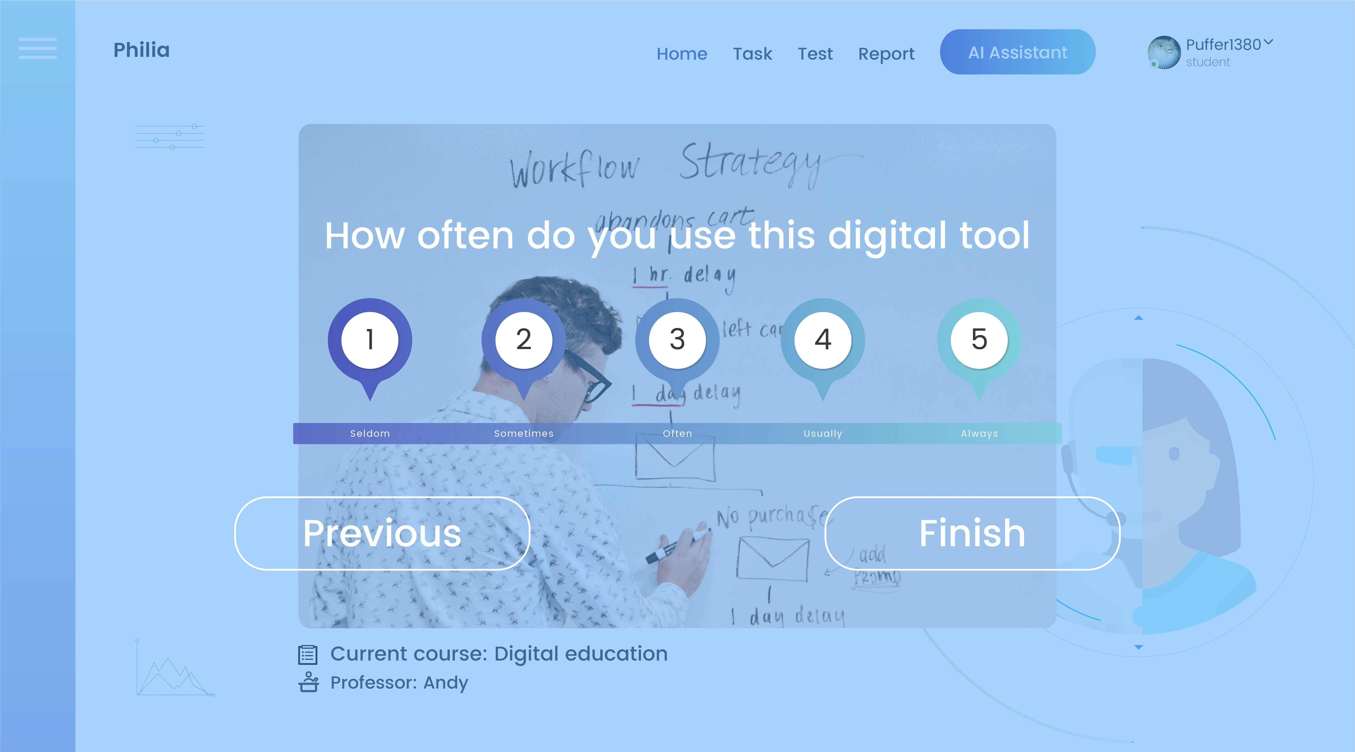 The user interface of Philia (The use-frequency of digital tool)